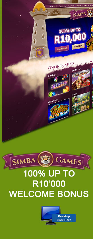 Get a R10'000 Welcome Bonus At Simba Games