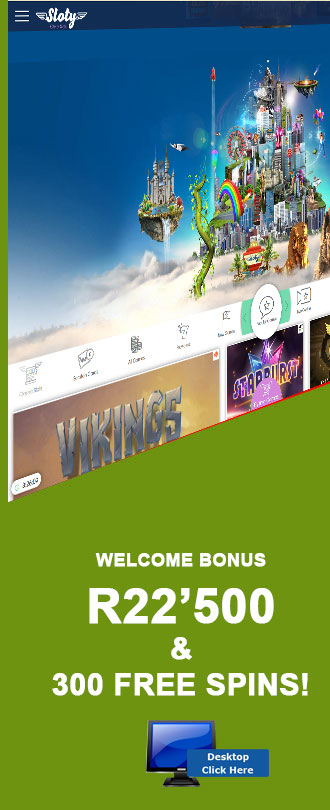 Sign Up At Sloty Casino And Get Up To A R22'500 and 300 Free Spins Welcome Bonus